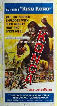 t018 KONGA three-sheet movie poster '61 great Reynold Brown ape artwork!