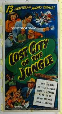t019 LOST CITY OF THE JUNGLE three-sheet movie poster '46 adventure serial!