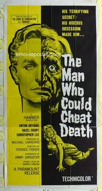 t020 MAN WHO COULD CHEAT DEATH three-sheet movie poster '59 Hammer horror!