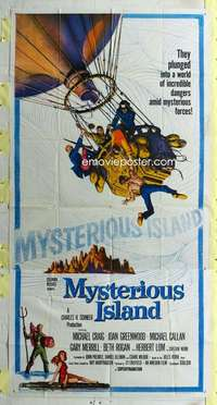 t022 MYSTERIOUS ISLAND three-sheet movie poster '61 Ray Harryhausen