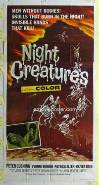 t023 NIGHT CREATURES three-sheet movie poster '62 Hammer, great horror image!