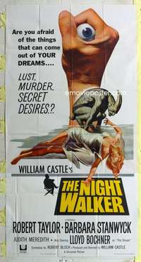 t024 NIGHT WALKER three-sheet movie poster '65 William Castle, Stanwyck