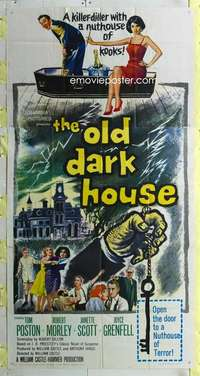 t025 OLD DARK HOUSE three-sheet movie poster '63 Hammer, William Castle