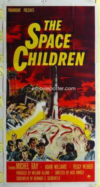 t027 SPACE CHILDREN three-sheet movie poster '58 Jack Arnold, wild sci-fi!