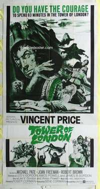 t029 TOWER OF LONDON three-sheet movie poster '62 Vincent Price, Corman