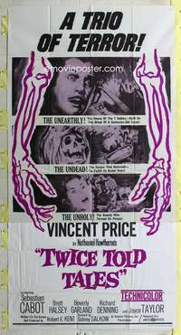 t030 TWICE TOLD TALES three-sheet movie poster '63 Vincent Price horror!