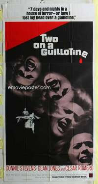 t031 TWO ON A GUILLOTINE three-sheet movie poster '65 Connie Stevens, Romero