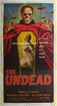 t032 UNDEAD three-sheet movie poster '57 Roger Corman, sexy Allison Hayes!