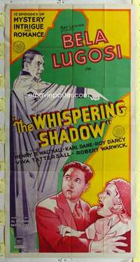 t034 WHISPERING SHADOW three-sheet movie poster '33 Bela Lugosi serial!