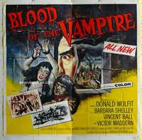 t035 BLOOD OF THE VAMPIRE six-sheet movie poster '58 history of horror!