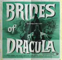 t036 BRIDES OF DRACULA six-sheet movie poster '60 Hammer, Peter Cushing