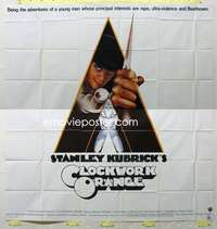 t037 CLOCKWORK ORANGE int'l six-sheet movie poster '72 Kubrick classic!