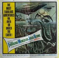 t038 FABULOUS WORLD OF JULES VERNE six-sheet movie poster '61 cool image!