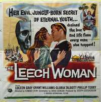 t039 LEECH WOMAN six-sheet movie poster '60 deadly female vampire!