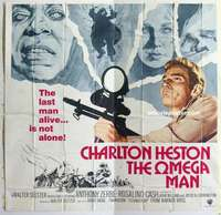 t040 OMEGA MAN six-sheet movie poster '71 Charlton Heston, zombies!