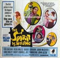 t041 SPIRIT IS WILLING six-sheet movie poster '67 sex life of ghosts!