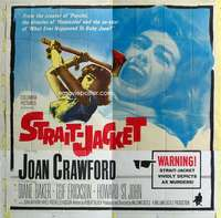 t042 STRAIT-JACKET six-sheet movie poster '64 ax murderer Joan Crawford!
