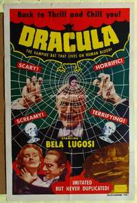 t001 DRACULA one-sheet movie poster R51 Bela Lugosi spider web image!