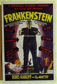 t002 FRANKENSTEIN one-sheet movie poster R51 Boris Karloff classic!