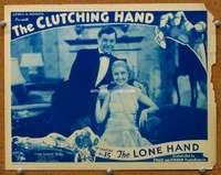 t081 CLUTCHING HAND #3 Chap 15 movie lobby card '36 stars close up!