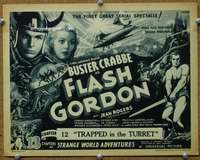 t071 FLASH GORDON Chap 12 movie title lobby card '36 Buster Crabbe serial!