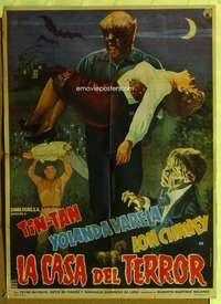 t049 LA CASA DEL TERROR Mexican movie poster '60 Lon Chaney Jr.