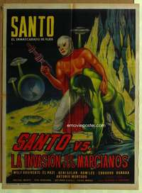 t050 SANTO VS LA INVASION DE LOS MARCIANOS Mexican movie poster '67