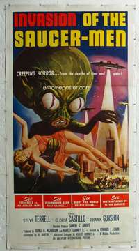 w007 INVASION OF THE SAUCER MEN linen three-sheet movie poster '57 AIP!