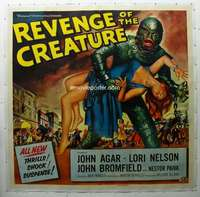 w001 REVENGE OF THE CREATURE linen six-sheet movie poster '55 great image!