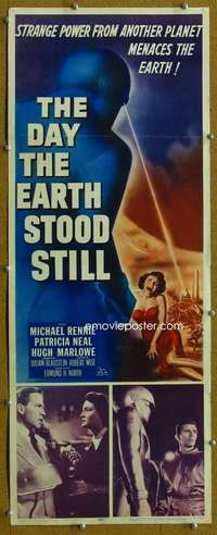 w025 DAY THE EARTH STOOD STILL insert movie poster '51 classic!