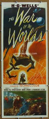 w046 WAR OF THE WORLDS insert movie poster '53 H.G. Wells classic!