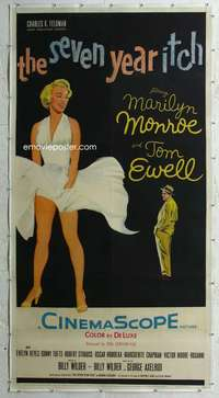 e001 SEVEN YEAR ITCH linen three-sheet movie poster '55 sexy Marilyn Monroe!