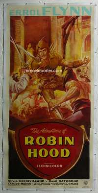 e002 ADVENTURES OF ROBIN HOOD linen English three-sheet movie poster '38 Flynn