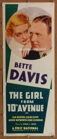f001 GIRL FROM 10th AVENUE insert movie poster '35 Bette Davis