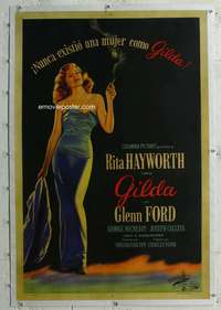 g045 GILDA linen Argentinean movie poster '46 stone litho Rita!