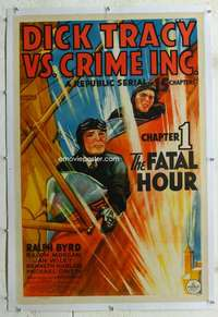 g324 DICK TRACY VS CRIME INC linen Chap 1 one-sheet movie poster '41 Byrd