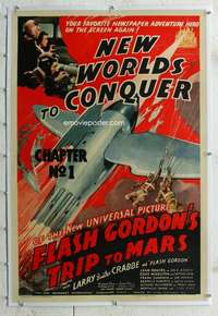 g004 FLASH GORDON'S TRIP TO MARS linen Chap 1 one-sheet movie poster '38