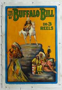 g386 LIFE OF BUFFALO BILL linen one-sheet movie poster '14 cool stone litho!