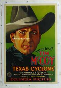 g507 TEXAS CYCLONE linen signed one-sheet movie poster '32 Tim McCoy!