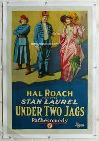 g528 UNDER TWO JAGS linen one-sheet movie poster '23 Stan Laurel, Hal Roach