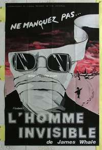 k049 INVISIBLE MAN French 31x46 movie poster R60s Claude Rains, H.G. Wells