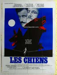k081 DOGS French one-panel movie poster '79 Gerard Depardieu, biting dogs!