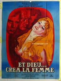k056 AND GOD CREATED WOMAN French one-panel movie poster R64 sexy Bardot!