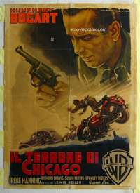 k351 BIG SHOT Italian one-panel movie poster '48 Bogart, Martinati art!