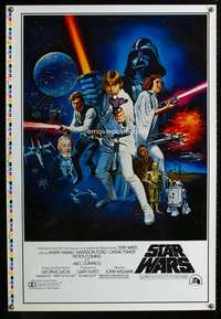 v001 STAR WARS printer's test C 1sh movie poster '77 with ratings!