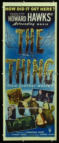 d004 THING insert movie poster '51 Howard Hawks classic horror!
