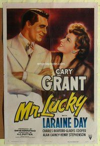 e610 MR LUCKY one-sheet movie poster '43 gambling Cary Grant, Laraine Day
