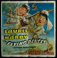 f038 FLYING DEUCES linen six-sheet movie poster '39 Laurel & Hardy