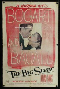 f317 BIG SLEEP linen one-sheet movie poster '46 Humphrey Bogart, Bacall