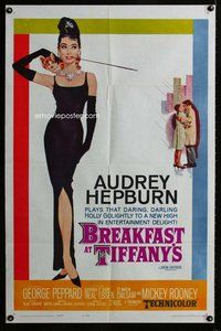 f001 BREAKFAST AT TIFFANY'S one-sheet movie poster '61 best Audrey Hepburn!